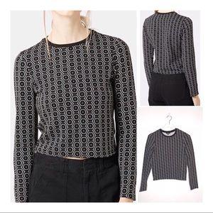 TOPSHOP Black Hexagon Print Long Sleeve Top Size 4
